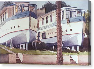 Blue Boat Apartments Encinitas Canvas Print by Mary Helmreich