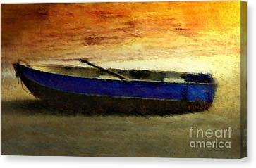 Blue Boat At Sunset Canvas Print by Sandra Bauser Digital Art