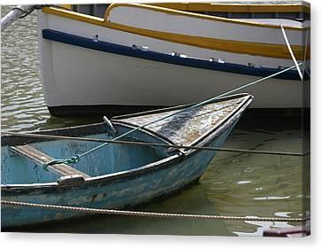 Blue Boat Camargue Canvas Print by Phoenix De Vries