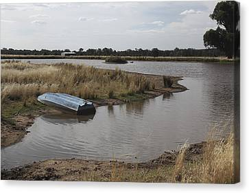 Canvas Print featuring the photograph Blue Boat On Dam. by Carole Hinding