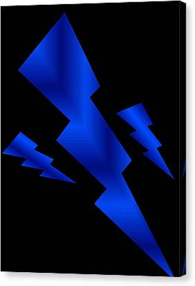 Canvas Print featuring the digital art Blue Bolts by Gayle Price Thomas