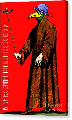 Blue Bonnet Plague Doctor 20140306 With Text Canvas Print by Wingsdomain Art and Photography