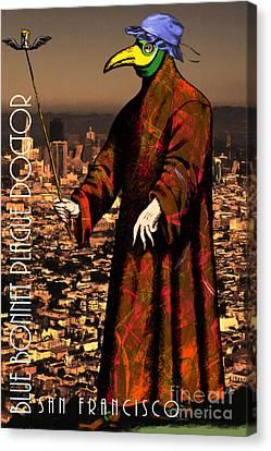 Blue Bonnet Plague Doctor Of San Francisco 20140306 With Text Canvas Print