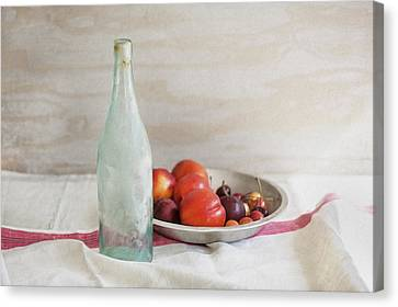 Blue Bottle And Fresh Fruit Canvas Print by Rich Franco