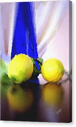 Blue Bottle And Lemons Canvas Print by Ben and Raisa Gertsberg