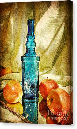 Blue Bottle With Apples Canvas Print