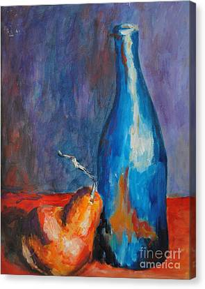 Blue Bottle With Orange Pear Canvas Print