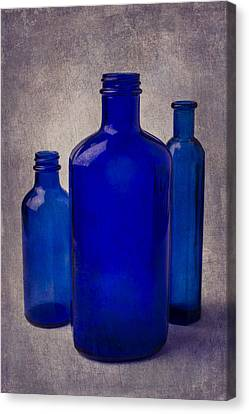 Container Canvas Print - Blue Bottles by Garry Gay
