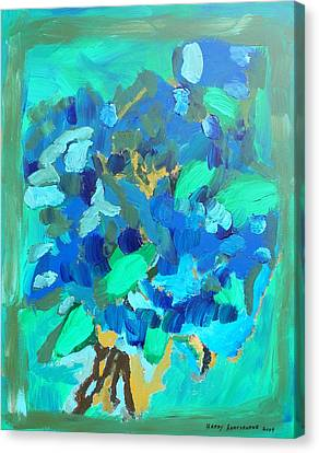 Blue Bouquet Canvas Print by Harry Hartshorne Jr