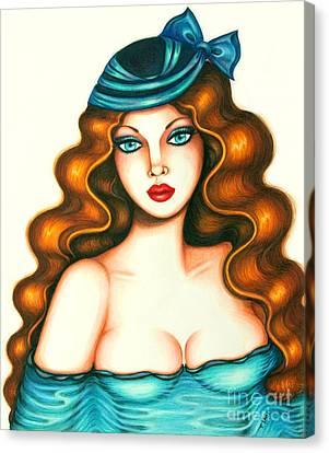 Blue Bow Hat Canvas Print