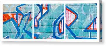 Blue Brick Graffiti Canvas Print by Art Block Collections