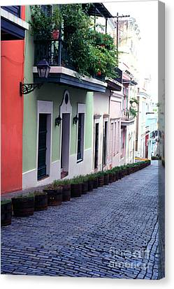 Blue Brick Street Old San Juan Canvas Print by Thomas R Fletcher