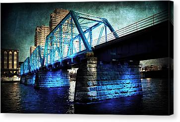 Blue Bridge Canvas Print by Evie Carrier