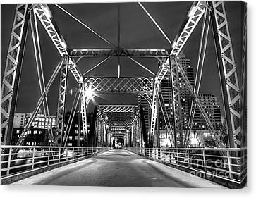 Blue Bridge In Black And White Canvas Print by Twenty Two North Photography