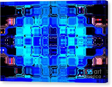 Canvas Print featuring the digital art Blue Bubble Glass by Anita Lewis