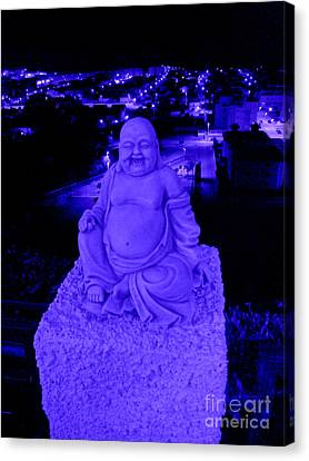 Canvas Print featuring the photograph Blue Buddha And The Blue City by Linda Prewer