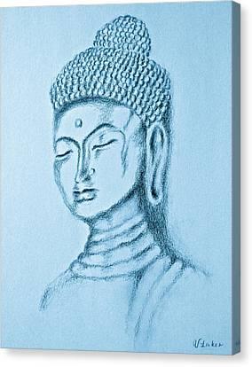 Buddha Sketch Canvas Print - Blue Buddha by Victoria Lakes