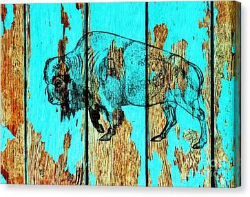 Canvas Print featuring the drawing Blue Buffalo 3 by Larry Campbell