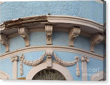 Blue Building Old Mazatlan Canvas Print by Linda Queally