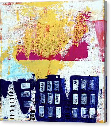 Yellow Building Canvas Print - Blue Buildings by Linda Woods