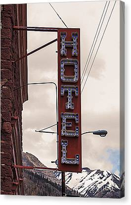 Blue Bulbs Hotel Sign Canvas Print by Janice Rae Pariza