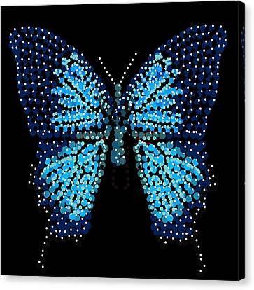 Blue Butterfly Black Background Canvas Print by R  Allen Swezey