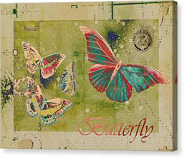 Blue Butterfly Etc - S55ct01 Canvas Print by Variance Collections