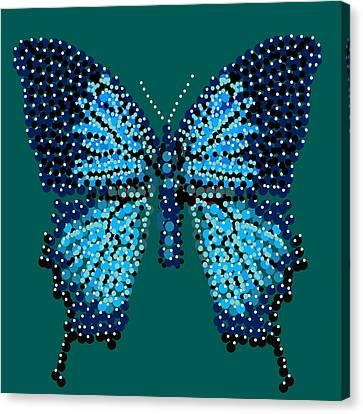 Blue Butterfly Green Background Canvas Print by R  Allen Swezey