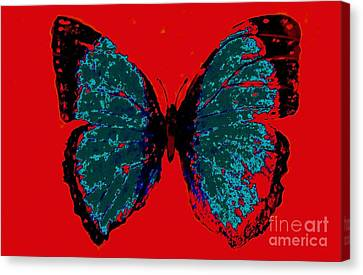 Canvas Print featuring the digital art Blue Butterfly  by Jasna Gopic