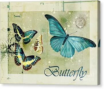 Blue Butterfly - S55c01 Canvas Print by Variance Collections