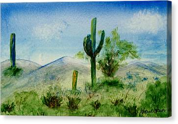 Canvas Print featuring the painting Blue Cactus by Jamie Frier