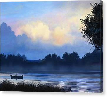 Canoe Canvas Print - Blue Canoe by Robert Foster