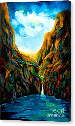 Blue Canyon Waterfall Canvas Print by Larry Martin