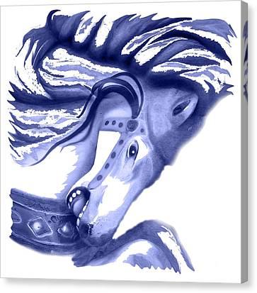 Blue Carrousel Horse Canvas Print