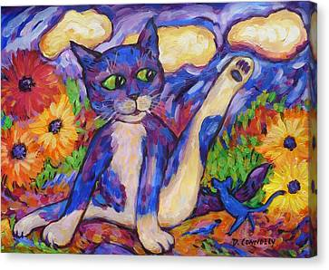 Canvas Print featuring the painting Blue Cat Among Daisies by Dianne  Connolly