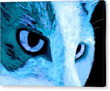 Blue Cat Face Canvas Print by Ann Powell