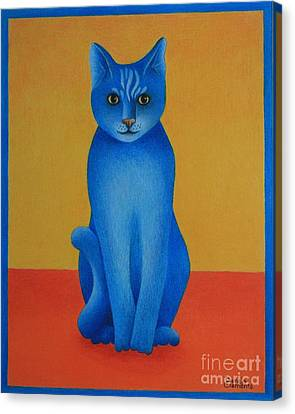 Canvas Print featuring the painting Blue Cat by Pamela Clements