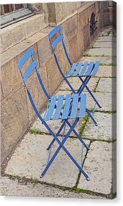 Blue Chairs 2 Stockholm Sweden Canvas Print by Marianne Campolongo