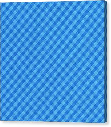 Blue Checkered Diagonal Tablecloth Cloth Background Canvas Print by Keith Webber Jr