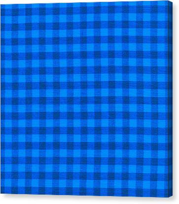 Blue Checkered Tablecloth Fabric Background Canvas Print by Keith Webber Jr