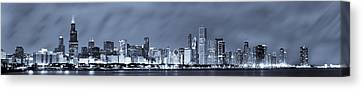 Blue Chicago Skyline Canvas Print by Sebastian Musial