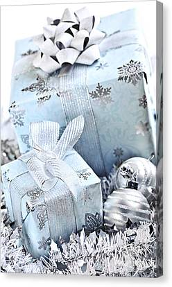 Wrapping Canvas Print - Blue Christmas Gift Boxes by Elena Elisseeva