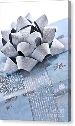Wrapping Canvas Print - Blue Christmas Gift by Elena Elisseeva
