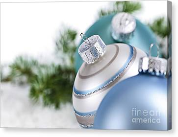 Blue Christmas Ornaments Canvas Print