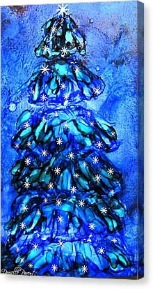 Blue Christmas Tree Alcohol Inks  Canvas Print