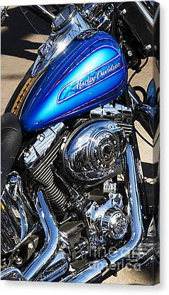 Blue Chromed Harley Canvas Print by Tim Gainey