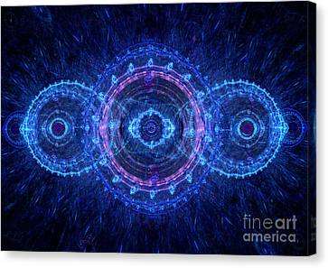 Blue Circle Fractal Canvas Print