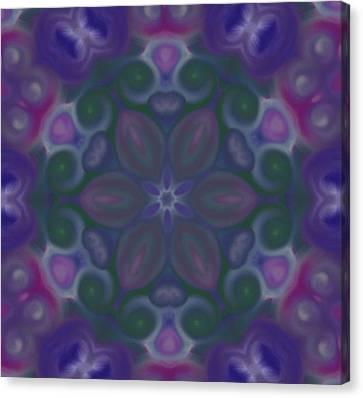 Blue Circle Mandala Canvas Print by Karen Buford