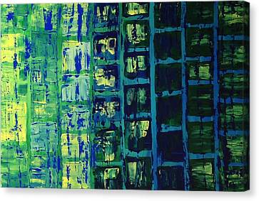 Canvas Print featuring the painting Blue City 2 by Linda Bailey