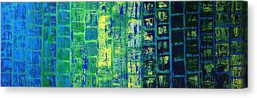 Canvas Print featuring the painting Blue City by Linda Bailey